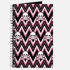 Gothic Pink Skull Chevron Pattern Journal