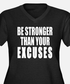 BE STRONGER Women's Plus Size V-Neck Dark T-Shirt