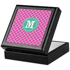 Pink Green Quatrefoil Monogram Keepsake Box