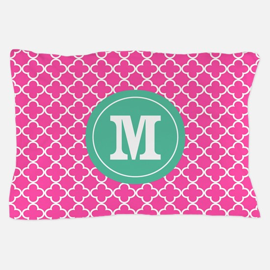 Pink Green Quatrefoil Monogram Pillow Case