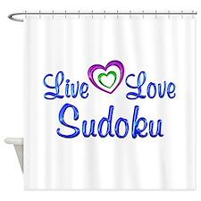 Live Love Sudoku Shower Curtain