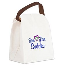 Live Love Sudoku Canvas Lunch Bag