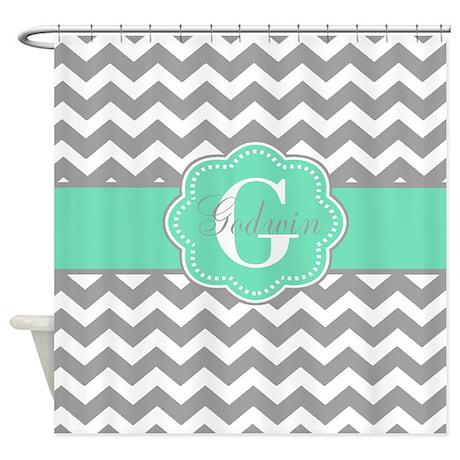 Gray Mint Green Chevron Monogram Shower Curtain