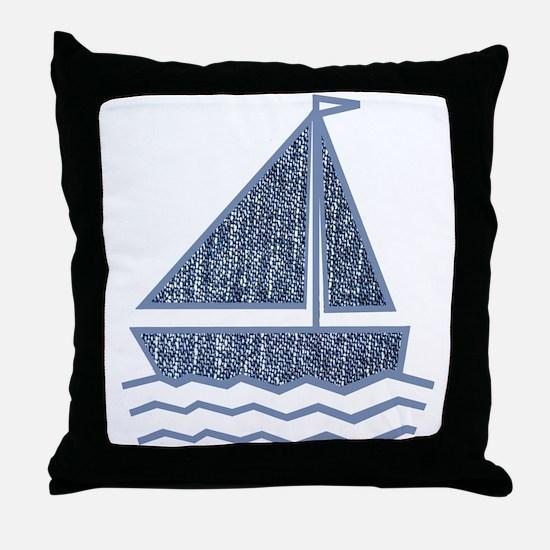 Little jeans sailboat Throw Pillow