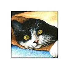 """cat 301 tuxedo Square Sticker 3"""" x 3"""""""