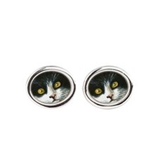 cat 301 tuxedo Oval Cufflinks