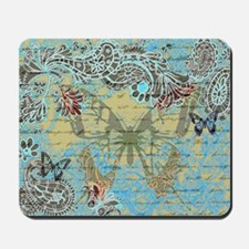 Teal vintage butterfly Mousepad
