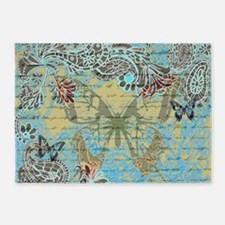 Teal vintage butterfly 5'x7'Area Rug
