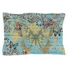 Teal vintage butterfly Pillow Case