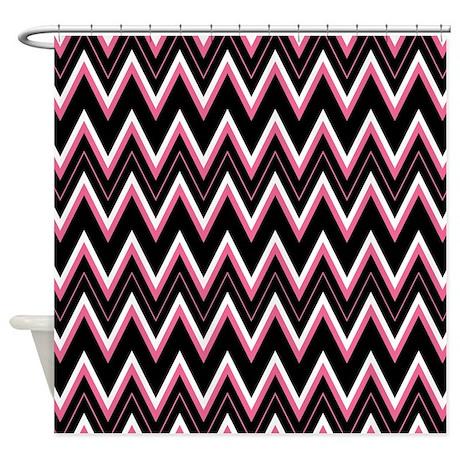 Pink Black White Chevron Pattern Shower Curtain By Evilinpink