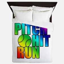 Pitch Hit And Run.png Queen Duvet