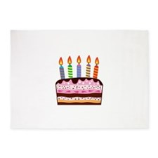 Birthday Cake Food Dessert 5'x7'Area Rug