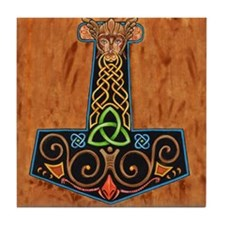 Thors Hammer in color Tile Coaster