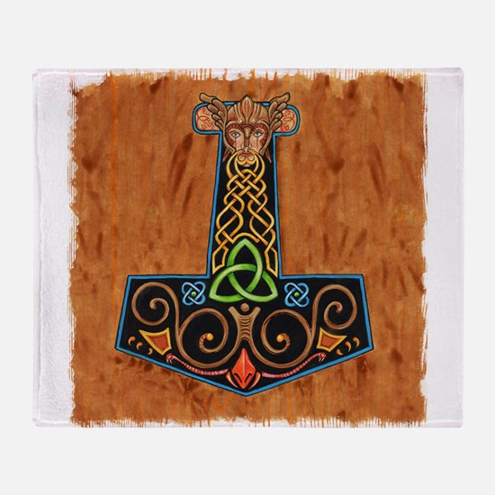 Thors Hammer in color Throw Blanket