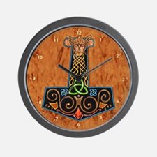 Thors Hammer in color Wall Clock