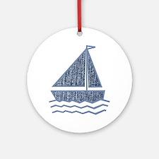 Little jeans sailboat Ornament (Round)