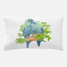 Cute Cuddling Watercolor Blue Parrots Pillow Case