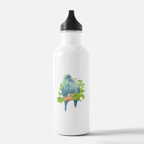 Cute Cuddling Watercolor Blue Parrots Water Bottle