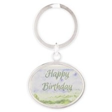 Happy Birthday Watercolour Effect Oval Keychain