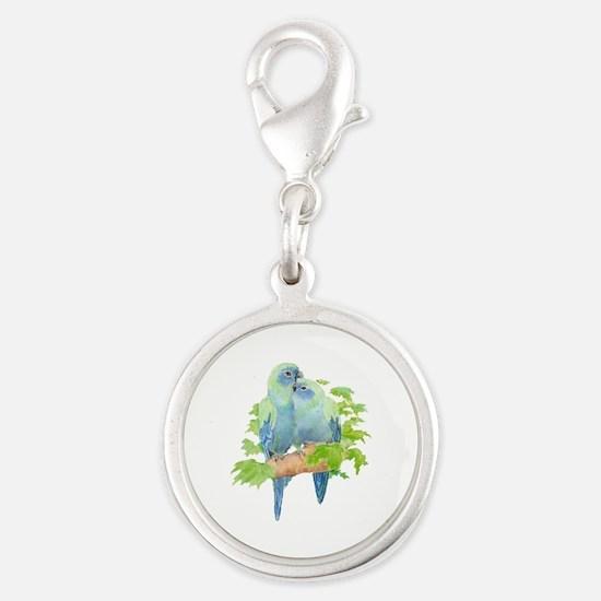 Cute Cuddling Watercolor Blue Parrots Charms