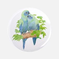 "Cute Cuddling Watercolor Blue Parrots 3.5"" Bu"