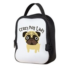 Crazy Pug Lady Neoprene Lunch Bag