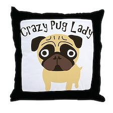Crazy Pug Lady Throw Pillow
