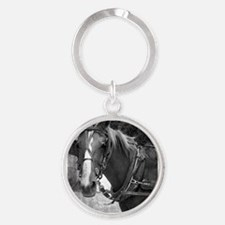 Amish Horse in Black and White Round Keychain