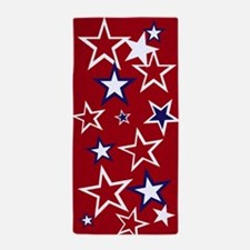 Red White And Blue Stars Beach Towel