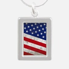 stars and stripes Silver Portrait Necklace