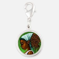 Jamaican girl Silver Round Charm
