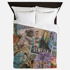 Venice Vintage Trendy Italy Travel Collage Queen D