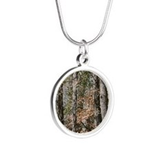 Realistic Tree Forest Camo Silver Round Necklace