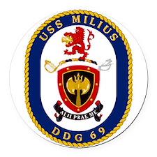DDG 69 USS Milius Round Car Magnet