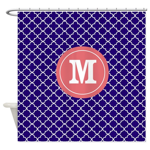 Navy Coral Quatrefoil Monogram Shower Curtain By CupcakesandSprinklesBirthday