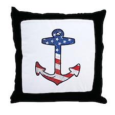 American Flag Anchor Throw Pillow