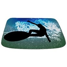 Surfing on Blue Green Foam Mat Bathmat