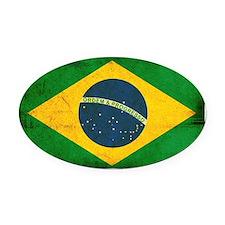 Brazil Flag Oval Car Magnet