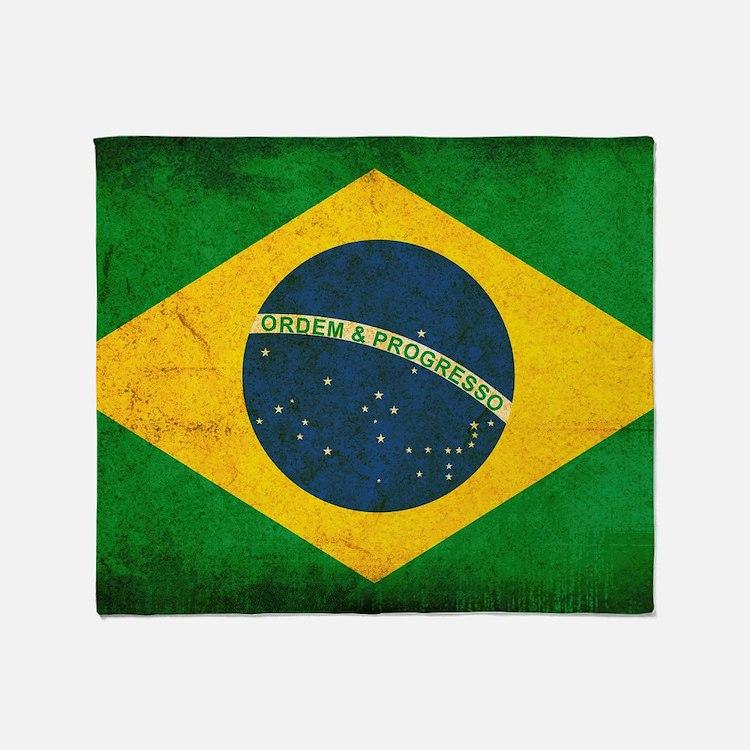 Brazil Flag Throw Blanket