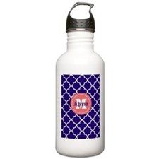 Navy Blue Coral Quatrefoil Personalized Water Bott
