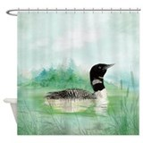Loon bird Shower Curtains