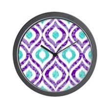 PURPLE AND TEAL IKAT 2 COPY Wall Clock