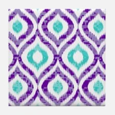 PURPLE AND TEAL IKAT 2 COPY Tile Coaster