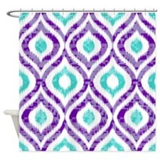 PURPLE AND TEAL IKAT 2 COPY Shower Curtain