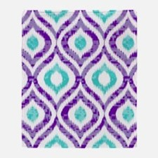PURPLE AND TEAL IKAT 2 COPY Throw Blanket