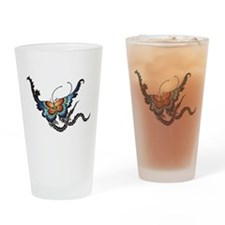Orange/Blue Butterfly Drinking Glass