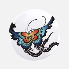 "Orange/Blue Butterfly 3.5"" Button"