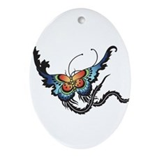 Orange/Blue Butterfly Ornament (Oval)