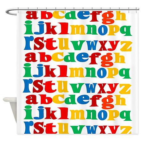 Rainbow Alphabet Shower Curtain