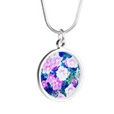 flower love Silver Round Necklace